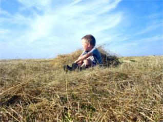 Enfant seul dans un champ